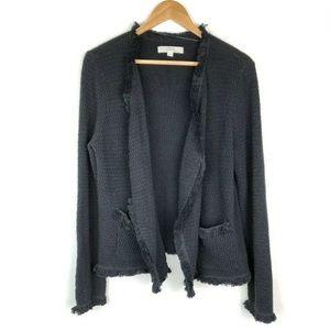 LOFT XL Open Front Sweater Jacket Black Tweed